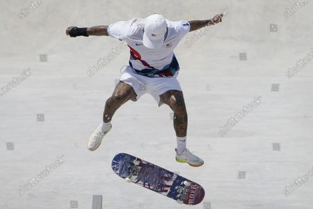 Nyjah Huston of the United States competes during the men's street skateboarding finals at the 2020 Summer Olympics, in Tokyo, Japan