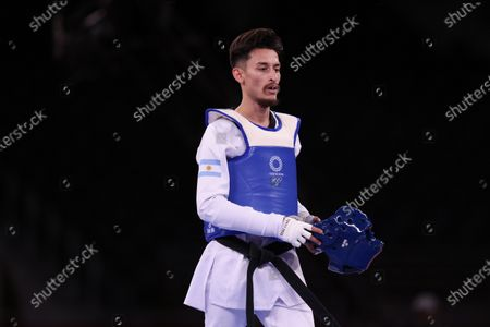 Stock Photo of Lucas Lautaro Guzman (ARG) (blue) vs Jack Woolley (IRE) (red) - Taekwondo : Men's -58kg round of 16  during the Tokyo 2020 Olympic Games at the Makuhari Messe Hall B in Chiba, Japan.