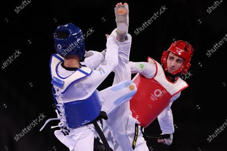 Stock Picture of Lucas Lautaro Guzman (ARG) (blue) vs Jack Woolley (IRE) (red) - Taekwondo : Men's -58kg round of 16  during the Tokyo 2020 Olympic Games at the Makuhari Messe Hall B in Chiba, Japan.