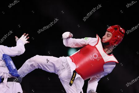 Lucas Lautaro Guzman (ARG) (blue) vs Jack Woolley (IRE) (red) - Taekwondo : Men's -58kg round of 16  during the Tokyo 2020 Olympic Games at the Makuhari Messe Hall B in Chiba, Japan.