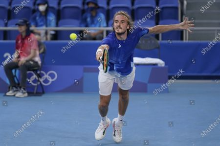 Stock Picture of Stefanos Tsitsipas, of Greece, plays Philipp Kohlschreiber, of Germany, during the first round of the tennis competition at the 2020 Summer Olympics, in Tokyo, Japan