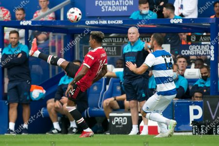 Stock Picture of Jesse Lingard of Manchester United controls the ball during the Pre-season Friendly match between Queens Park Rangers and Manchester United at the Kiyan Prince Foundation Stadium., London, England on 24th July 2021.