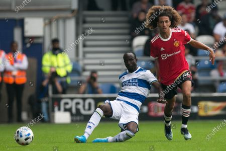 Albert Adomah controls the ball during the Pre-season Friendly match between Queens Park Rangers and Manchester United at the Kiyan Prince Foundation Stadium., London, England on 24th July 2021.