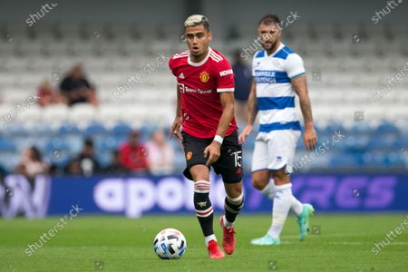 Andreas Pereira of Manchester United controls the ball during the Pre-season Friendly match between Queens Park Rangers and Manchester United at the Kiyan Prince Foundation Stadium., London, UK on 24th July 2021.