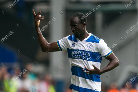 Albert Adomah of Queens Park Ranger gestures during the Pre-season Friendly match between Queens Park Rangers and Manchester United at the Kiyan Prince Foundation Stadium., London, UK on 24th July 2021.