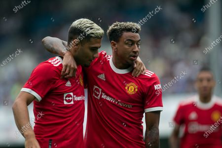 Stock Photo of Jesse Lingard of Manchester United celebrates after scoring during the Pre-season Friendly match between Queens Park Rangers and Manchester United at the Kiyan Prince Foundation Stadium., London, England on 24th July 2021.