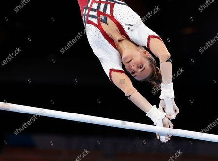 Pauline Schaefer-Betz of Germany competes on the Uneven Bars during the Women's Qualification of the Tokyo 2020 Olympic Games Artistic Gymnastics events at the Ariake Gymnastics Centre in Tokyo, Japan, 25 July 2021.
