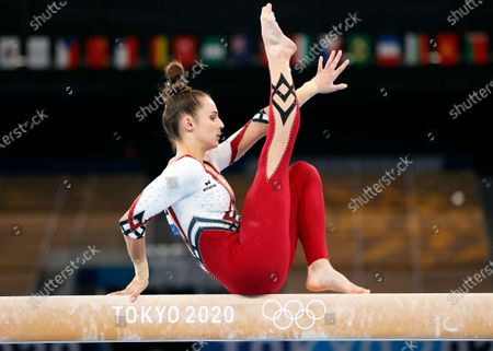 Pauline Schaefer-Betz of Germany competes on the Balance Beam during the Women's Qualification of the Tokyo 2020 Olympic Games Artistic Gymnastics events at the Ariake Gymnastics Centre in Tokyo, Japan, 25 July 2021.