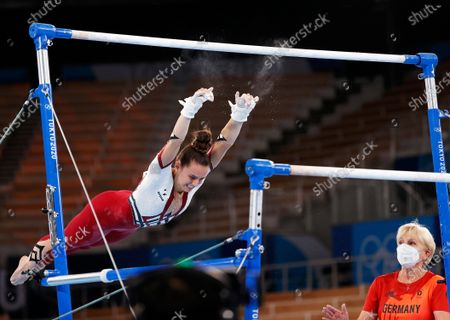 Pauline Schaefer-Betz of Germany falls from the Uneven Bars during the Women's Qualification of the Tokyo 2020 Olympic Games Artistic Gymnastics events at the Ariake Gymnastics Centre in Tokyo, Japan, 25 July 2021.