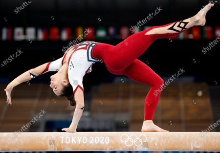 Stock Picture of Pauline Schaefer-Betz of Germany competes on the Balance Beam during the Women's Qualification of the Tokyo 2020 Olympic Games Artistic Gymnastics events at the Ariake Gymnastics Centre in Tokyo, Japan, 25 July 2021.