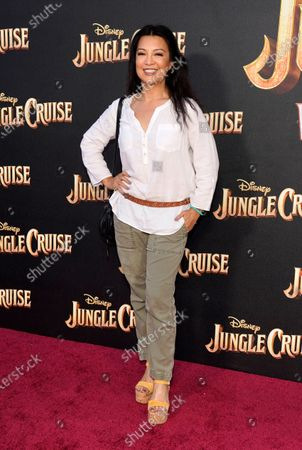 """Stock Image of Actress Ming-Na Wen poses at the world premiere of the film """"Jungle Cruise,"""", at Disneyland in Anaheim, Calif"""
