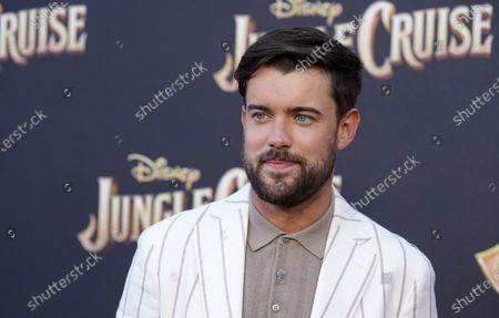 """Jack Whitehall, a cast member in """"Jungle Cruise,"""" poses at the world premiere of the film, at Disneyland in Anaheim, Calif"""