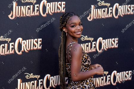 """Actress Marsai Martin poses at the world premiere of the film """"Jungle Cruise,"""", at Disneyland in Anaheim, Calif"""