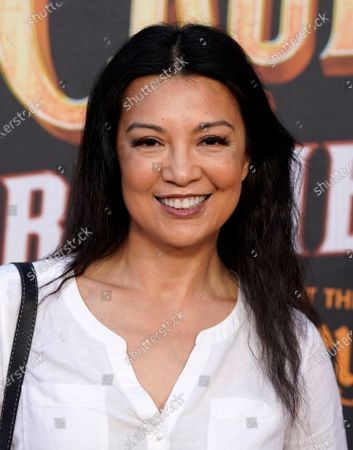 """Stock Photo of Actress Ming-Na Wen poses at the world premiere of the film """"Jungle Cruise,"""", at Disneyland in Anaheim, Calif"""