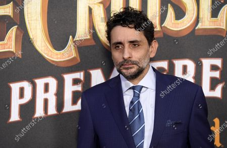 """Jaume Collet-Serra, director of """"Jungle Cruise,"""" poses at the world premiere of the film, at Disneyland in Anaheim, Calif"""