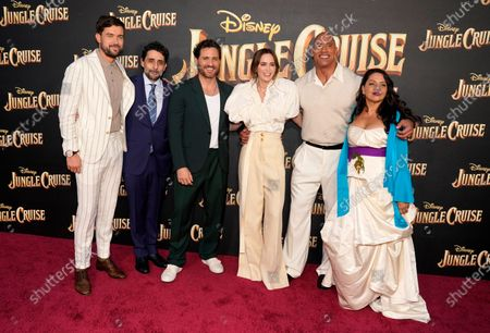 """Jaume Collet-Serra, second from left, director of """"Jungle Cruise,"""" poses with cast members, from left, Jack Whitehall, Edgar Ramirez, Emily Blunt, Dwayne Johnson and Veronica Falcon at the world premiere of the film, at Disneyland in Anaheim, Calif"""