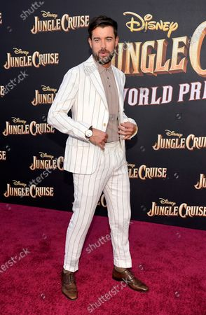 """Jack Whitehall, a cast member in """"Jungle Cruise,"""" walks the red carpet at the world premiere of the film, at Disneyland in Anaheim, Calif"""