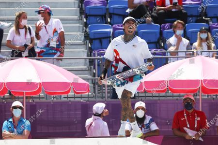 Stock Picture of Nyjah Huston of USA reacts during the Skateboarding Men's Street event of the Tokyo 2020 Olympic Games at the Ariake Urban Sports Park in Tokyo, Japan, 25 July 2021.
