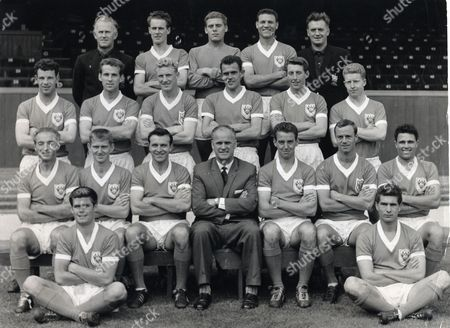 Editorial photo of Football Club Groups Blackpool Fc 1948. Back Row L-r: A Wilson (trainer) David Durie G West Peter Hauser E Hayward (asst Manager) Middle Row L-r: Bruce Crawford Barrie Martin William Cranston Ray Charnley Glyn James John Green. Bottom Row L-r: Stanle