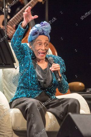 Omara Portuondo performs at Teatro Principal theater in Mahon, Menorca, eastern Spain, late 24 July 2021 (issued on 25 July 202), as part of the Splendid Festival 2021.