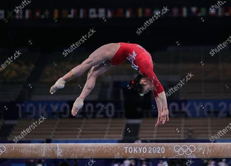 Stock Photo of Jin Zhang of China during women's qualification for the Artistic  Gymnastics final at the Olympics at Ariake Gymnastics Centre, Tokyo, Japan on May 5, 2021.