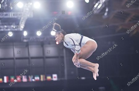 Melanie De Jesus Dos Santos of France during women's qualification for the Artistic  Gymnastics final at the Olympics at Ariake Gymnastics Centre, Tokyo, Japan on May 5, 2021.