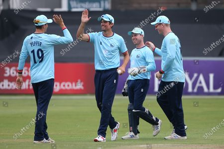 Essex players celebrate taking the wicket of Peter Handscomb during Essex Eagles vs Middlesex, Royal London One-Day Cup Cricket at The Cloudfm County Ground on 25th July 2021