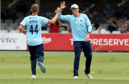 Michael Pepper of Essex congratulates Jamie Porter on taking the wicket of Peter Handscomb during Essex Eagles vs Middlesex, Royal London One-Day Cup Cricket at The Cloudfm County Ground on 25th July 2021
