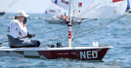 Rio Gold medalist Marit Bouwmeester of Netherlands reacts as she finished 21th on Laser Radial during the Sailing events of the Tokyo 2020 Olympic Games in Enoshima, Japan, 25 July 2021.