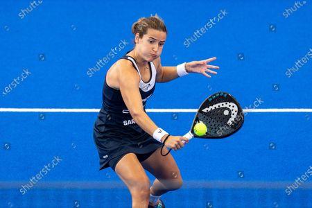 Paddle tennis playes Ariana Sanchez (C) and Paula Josemaria (unseen) face Marta Ortega (unseen) and Marta Marrero (unseen) at women's Estrella Damm Las Rozas Open 2021's final game in Las Rozas, Madrid, Spain, 25 July 2021. Sanchez - Josemaria won 6-2 and 6-1.