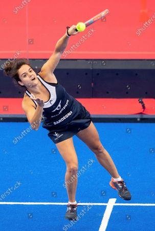 Paddle tennis players Paula Josemaria (C) and Ariana Sanchez (unseen) face Marta Ortega (unseen) and Marta Marrero (unseen) at women's Estrella Damm Las Rozas Open 2021's final game in Las Rozas, Madrid, Spain, 25 July 2021. Sanchez - Josemaria won 6-2 and 6-1.