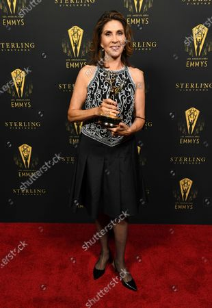 Miriam Hernandez backstage after winning the Crime/Social Issues News Story Emmy for ABC7's 'Gabriel Fernandez' during the 73rd Los Angeles Area Emmy Awards at the Television Academy Plaza in North Hollywood, Calif on