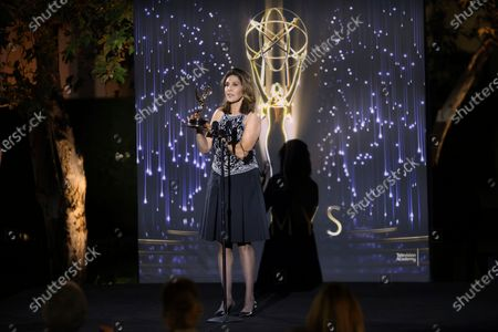 Miriam Hernandez accepts the Crime/Social Issues News Story Emmy for ABC7's 'Gabriel Fernandez' during the 73rd Los Angeles Area Emmy Awards at the Television Academy Plaza in North Hollywood, Calif on