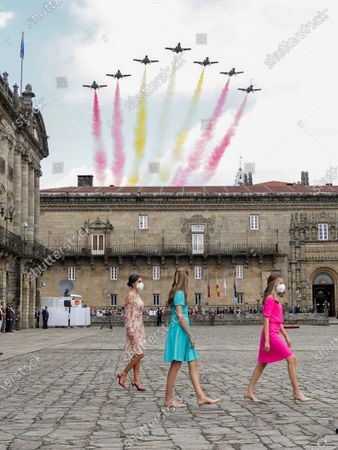 Spain's Queen Letizia (L), Spain's Princess Leonor (R) and Infanta Sofia (C) attend the traditional Apostle Saint James floral offering at the Cathedral in Santiago de Compostela, Galicia, northern Spain, 25 July 2021. Galicia celebrates its regional day on 25 July, marking Saint James Day, the patron saint of both Spain and Galicia.