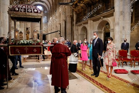 Spain's King Felipe (2-R) and Queen Letizia (R), Spain's Princess Leonor (4-R) and Infanta Sofia (3-R) attend the traditional Apostle Saint James floral offering at the Cathedral in Santiago de Compostela, Galicia, northern Spain, 25 July 2021. Galicia celebrates its regional day on 25 July, marking Saint James Day, the patron saint of both Spain and Galicia.