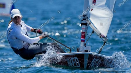 Marit Bouwmeester, from the Netherlands, competes during the Laser Radial at the Enoshima harbour during the 2020 Summer Olympics, in Fujisawa, Japan