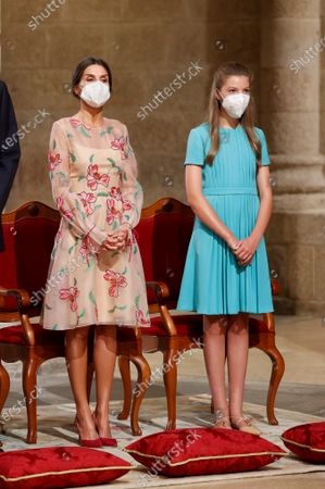 Spain's Queen Letizia (L) and Infanta Sofia (R) attend the traditional Apostle Saint James floral offering at the Cathedral in Santiago de Compostela, Galicia, northern Spain, 25 July 2021. Galicia celebrates its regional day on 25 July, marking Saint James Day, the patron saint of both Spain and Galicia.