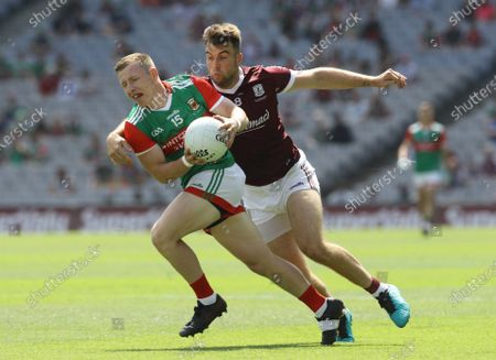 Stock Picture of Mayo vs Galway. Mayo's Ryan O'Donoghue and Paul Conroy of Galway