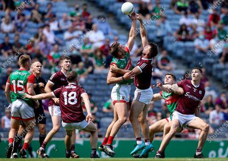 Mayo vs Galway. Mayo's Aidan O'Shea with Paul Conroy of Galway