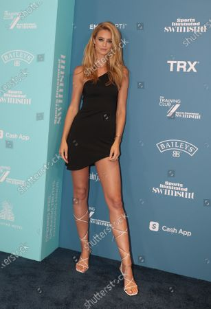 Kate Bock arrives at the 2021 Sports Illustrated issue release celebration at the Seminole Hard Rock Hotel in Hollywood, Florida, on Saturday, July 24, 2021.