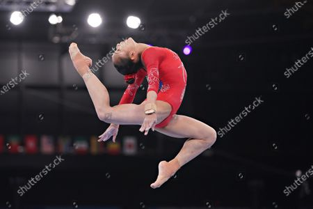 Stock Image of Peoples Republic of China gymnast Jin Zhang performs on the Balance Beam during the qualifying rounds at the Ariake Gymnastics Centre at the Tokyo Olympic Games in Tokyo, Japan, on Sunday July 25, 2021.