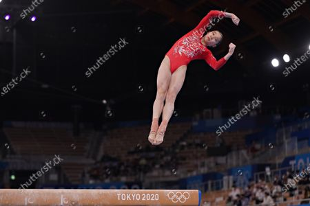 Stock Picture of Peoples Republic of China gymnast Jin Zhang performs on the Balance Beam during the qualifying rounds at the Ariake Gymnastics Centre at the Tokyo Olympic Games in Tokyo, Japan, on Sunday July 25, 2021.