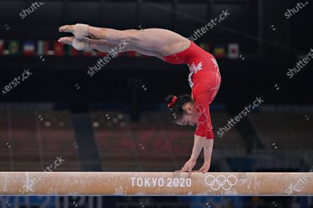 Peoples Republic of China gymnast Jin Zhang performs on the Balance Beam during the qualifying rounds at the Ariake Gymnastics Centre at the Tokyo Olympic Games in Tokyo, Japan, on Sunday July 25, 2021.