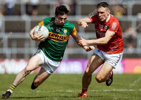 Kerry vs Cork. Kerry's Paul Murphy and John O'Rourke of Cork