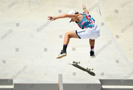 USA's Jagger Eaton competes in the Men's Street Final at the 2020 Tokyo Olympics. (Wally Skalij /Los Angeles Times)
