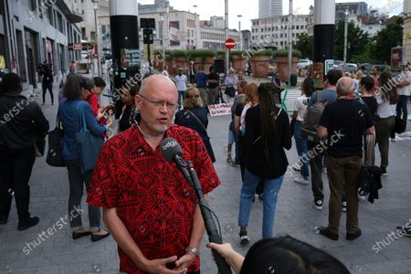 Illustration picture shows Belgian academic climatologist Jean-Pascal van Ypersele at a solidarity meeting organized by Rise for Climate Belgium for the victims of last week's heavy floods, in the city center of Brussels, Sunday 25 July 2021. 36 people were killed and 7 remain missing after the heavy floods that touched the East and South of Belgium last week. Only yesterday, another heavy rainfall caused severe damages, but no casualties, in Namur province.