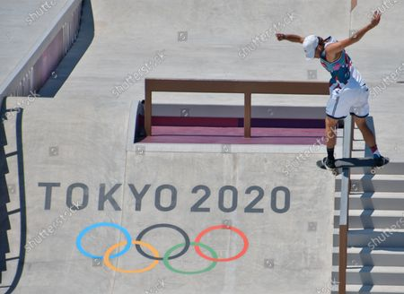 Jagger Eaton performs in the final during the Tokyo Olympics Skateboarding Men's Street at Ariake Sports Park in Tokyo, Japan on Sunday, July 25, 2021