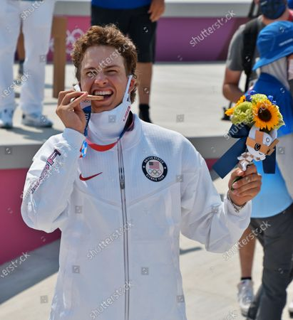 Bronze medalist Jagger Eaton of the United States celebrates during the Tokyo Olympics Skateboarding Men's Street Medal Ceremony at Ariake Sports Park in Tokyo, Japan on Sunday, July 25, 2021.