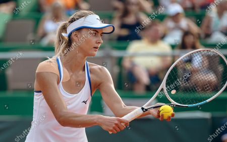 Stock Photo of Maryna Zanevska of Belgium in action against Kristina Kucova of Slovakia during their final match of the WTA BNP Paribas Poland Open tennis tournament in Gdynia, northern Poland, 25 July 2021.