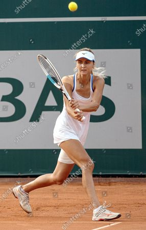 Maryna Zanevska of Belgium in action against Kristina Kucova of Slovakia during their final match of the WTA BNP Paribas Poland Open tennis tournament in Gdynia, northern Poland, 25 July 2021.